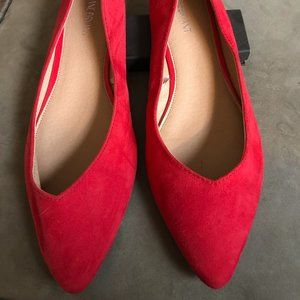 Lane Bryant Women's Size 12 Wide Red Suede Flats